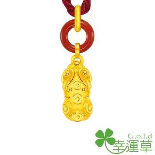 【幸運草clover gold】豐財貔貅 瑪瑙+黃金 女墜