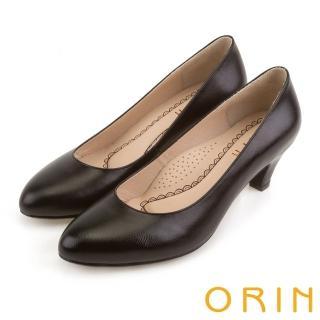 【ORIN】簡約時尚OL 圓尖素面柔軟羊皮粗跟鞋(黑色)