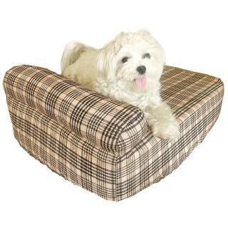 【凱蕾絲帝】中小型寵物專用獨立筒彈簧床墊+英倫橘單枕床包(45*60*11CM)
