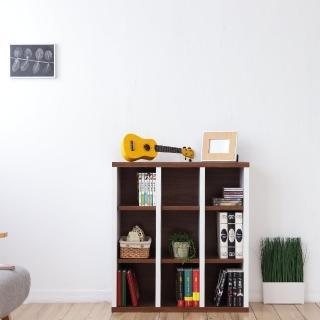 【Accessco】日系雙色九格厚板收納書櫃(胡桃白)