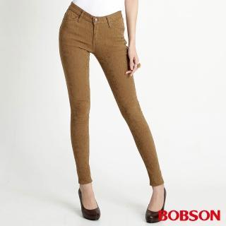 【BOBSON】女款高彈力緹織布緊身褲(卡其8108-72)
