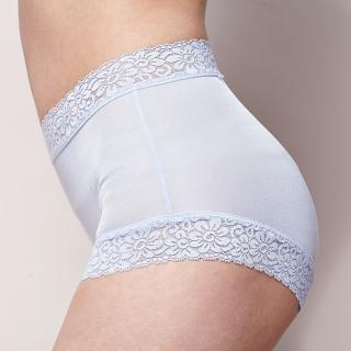 【矜蘭妃】100%蠶絲頂級42針蕾絲平口內褲(藍色)