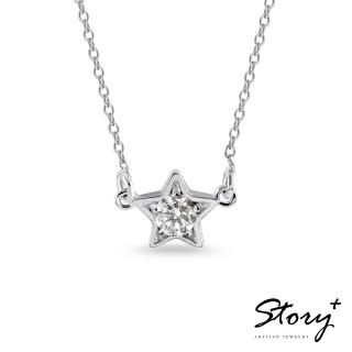 【STORY ACCESSORY】點點星光-純銀誕生石項鍊(白K金)