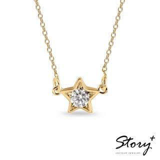 【STORY ACCESSORY】點點星光-純銀誕生石項鍊(黃K金)