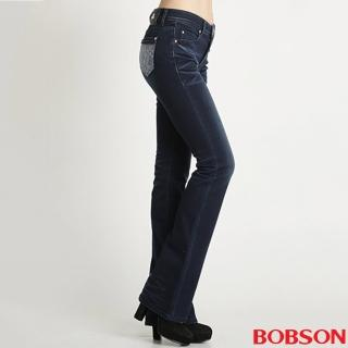 【BOBSON】繡花保暖紗小喇叭褲(9096-52)