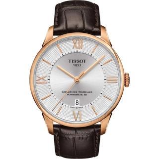 【TISSOT】杜魯爾系列機械動力80腕錶-銀x玫瑰金框/42mm(T0994073603800)
