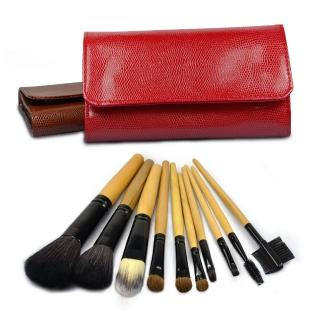 【幸福揚邑】專業彩妝羊毛木柄化妝刷具皮革化妝包10件組-艷麗紅色