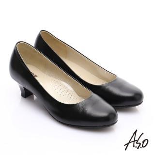 【A.S.O】舒適通勤 全真皮通勤簡約素面中跟鞋(黑軟皮)
