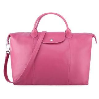 【Longchamp】小羊皮短把折疊兩用大型水餃包(玫瑰粉)