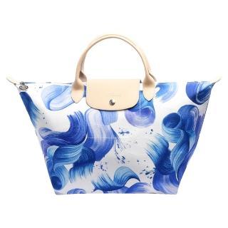 【LONGCHAMP】SPLASH系列水花圖紋短把棉質帆布水餃包(中-藍莓色1623615-807)