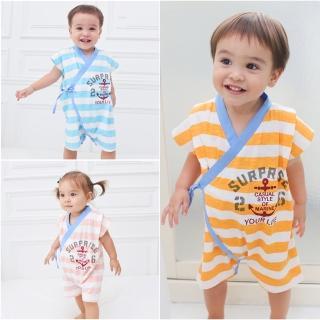 【baby童衣】連身衣 日式風格無袖綁帶包屁衣 61021(共3色)