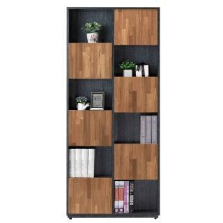 【AT HOME】布拉格2.7尺柚木六單門書櫃-左