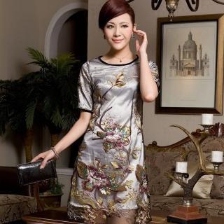 【畢綠珈】春夏裝新款中年女裝歐根紗真絲刺繡加大碼桑蠶絲連衣裙(EMY-056)