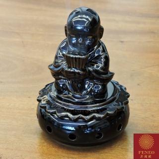 【菲鈮歐】小沙彌彩繪陶瓷聚財香爐(1552)