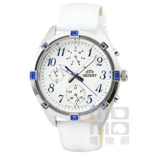 【ORIENT】東方錶DESIGN三眼計時運動皮帶錶-白(FUY04006W)
