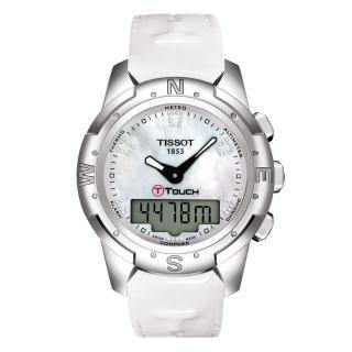 【TISSOT】T-TOUCH II 鈦真鑽多功能觸控錶-白貝/42.7mm(T0472204611600)