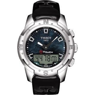 【TISSOT】T-TOUCH II 鈦真鑽多功能觸控錶-黑貝/42.7mm(T0472204612600)