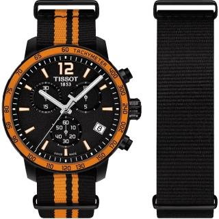 【TISSOT】天梭表 QUICKSTER NATO 活力運動腕錶-黑x橘(T0954173705700)