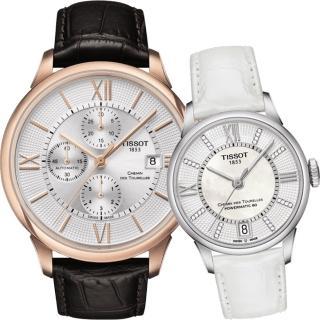 【TISSOT】杜魯爾系列情人機械對錶(T0994273603800+T0992071611600)