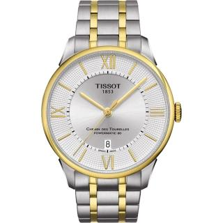 【TISSOT】杜魯爾系列機械動力80腕錶-銀x雙色版/42mm(T0994072203800)