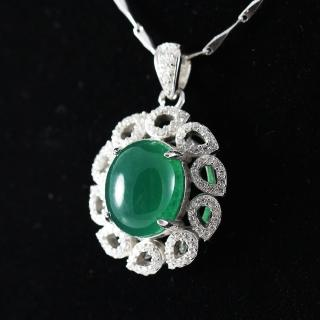 【金郁豐】浪漫花語天然帝王綠翡翠藍寶項鍊