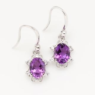 【寶石方塊】山明水秀天然紫水晶耳環-925銀飾
