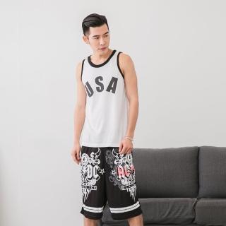【Jimmy&Wang】男生白USA背心+短褲套裝2件組(網)