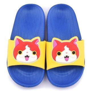 【童鞋城堡】妖怪手錶 中小童 大icon設計輕量拖鞋(YW2162-藍)
