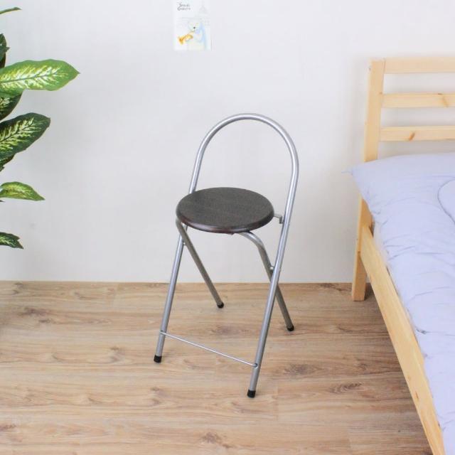 【E-Style】鋼管高背(木製椅座)折疊椅-吧台椅-吧檯椅-高腳椅-摺疊椅-深胡桃木色(1入-組)