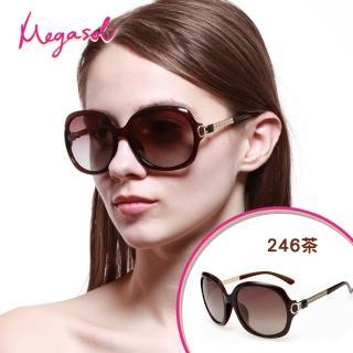 【MEGASOL】寶麗萊UV400防眩偏光手工太陽眼鏡(Dior設計師款-MS246茶色系列)