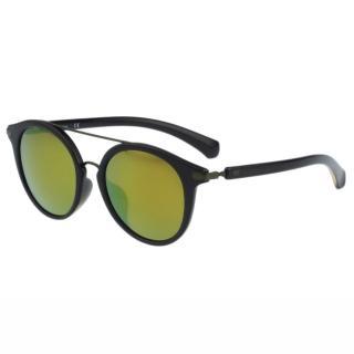 【Calvin Klein】- 時尚復古造型太陽眼鏡(黑色+反光鏡面)