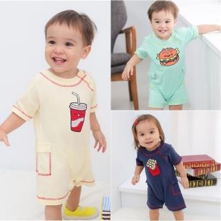 【baby童衣】寶寶爬服 短袖純棉刺繡連身衣 60012(共3色)