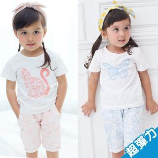 【baby童衣】兒童套裝 女童蝴蝶印花超彈性居家睡衣 60103(共2色)