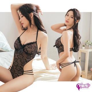 【Sexy Cynthia】情趣內衣 純黑蕾絲美背連身衣