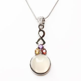 【寶石方塊】清耳悅心天然月光石項鍊-925銀飾
