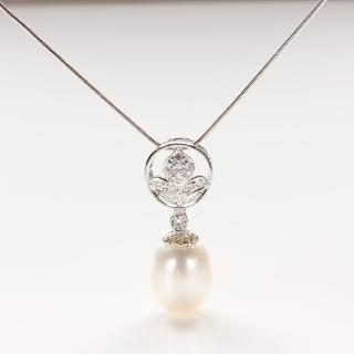 【寶石方塊】月白風清天然珍珠項鍊-925銀飾