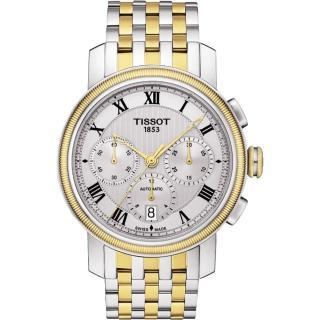 【TISSOT】Bridgeport 羅馬計時機械腕錶-銀x雙色版/42mm(T0974272203300)