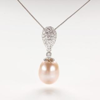 【寶石方塊】文如春華天然珍珠項鍊-925銀飾