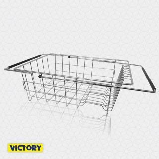 【VICTORY】不鏽鋼大容量伸縮碗盤瀝水架#1132005