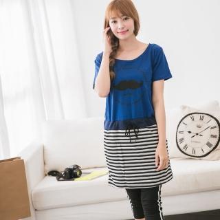 【Jimmy&Wang】條紋配色寶藍色洋裝M-XXL
