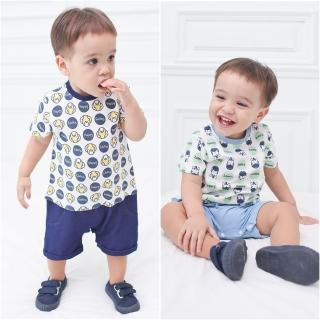 【baby童衣】連身衣男寶寶仿牛仔假兩件連體衣 嬰兒卡通圖案爬服 61059(共2色)