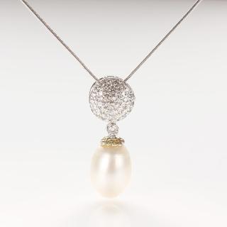 【寶石方塊】琪花瑤草天然珍珠項鍊-925銀飾