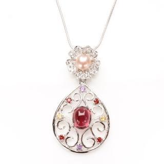 【寶石方塊】美女簪花天然碧璽項鍊-925純銀飾