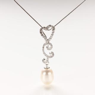 【寶石方塊】繁花似錦天然珍珠項鍊-925銀飾