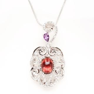 【寶石方塊】山情水意天然碧璽項鍊-925純銀飾