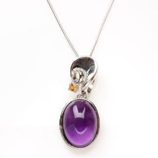 【寶石方塊】皓月千里天然紫水晶項鍊-925純銀飾