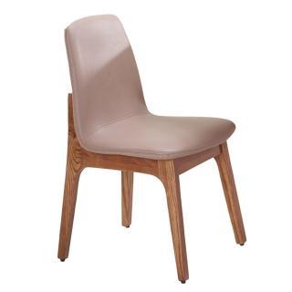 【AT HOME】葛麗絲胡桃咖啡皮餐椅