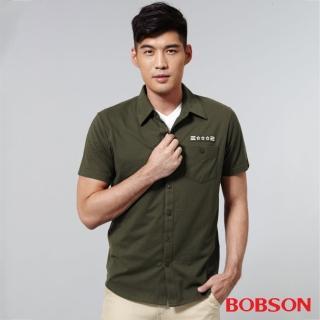 【BOBSON】男款襯衫式針織上衣(綠25006-41)