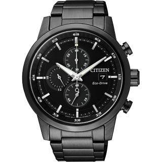 【CITIZEN】Eco-Drive光動能城市計時碼錶-黑/43mm(CA0615-59E)