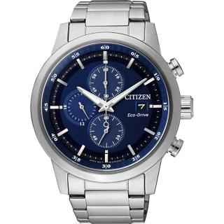【CITIZEN】Eco-Drive光動能城市計時碼錶-藍/43mm(CA0610-52L)